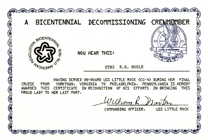 1975 Decommissioning Certificate