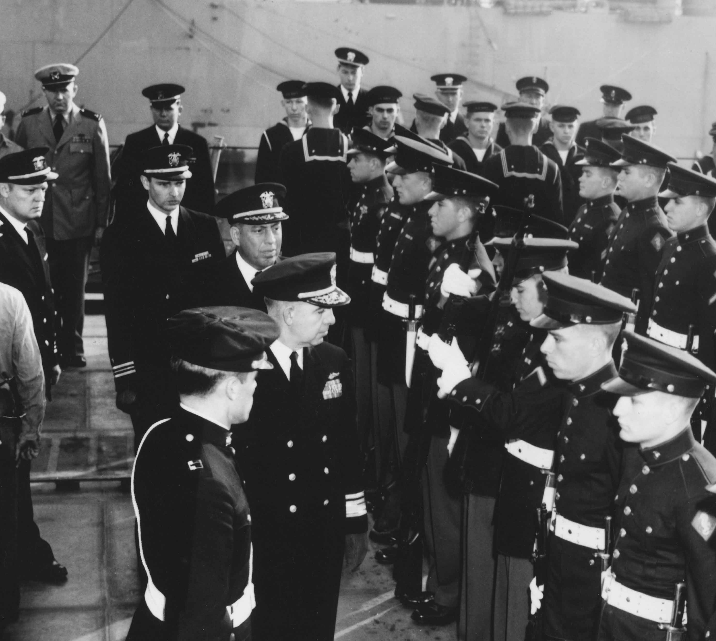 Capt. Mee and Admiral inspect crew