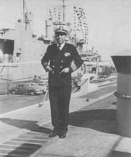 Captain Mee aboard USS Little Rock