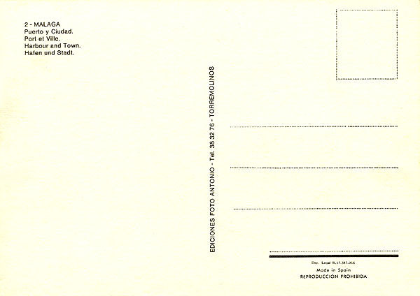 Malaga Post Card (Back)