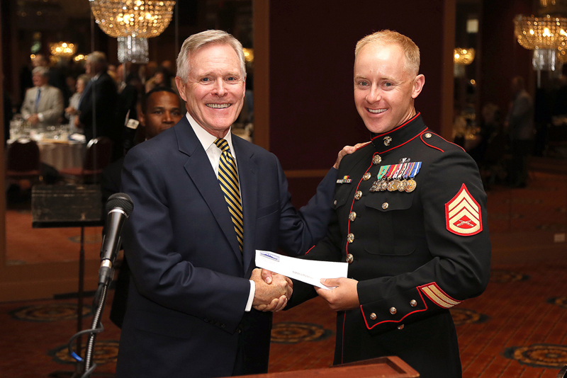 SSGT Brown with SecNav Ray Mabus